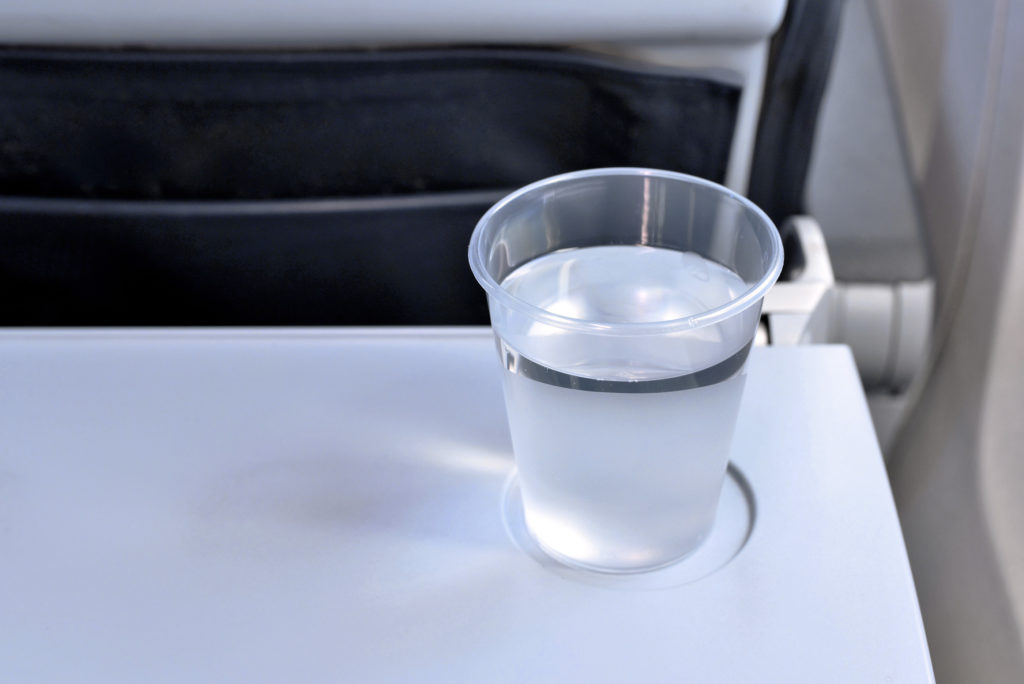 Airplane cabins are very dry, so it's easy to become more severely dehydrated than you realize.