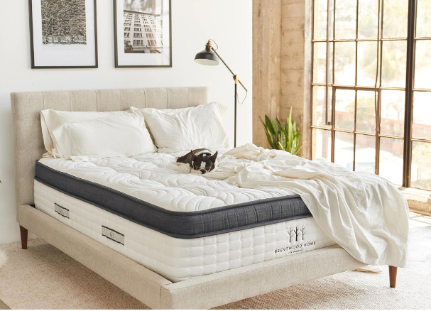 Brentwood home innerspring hybrid mattress with a dog in a bedroom setting