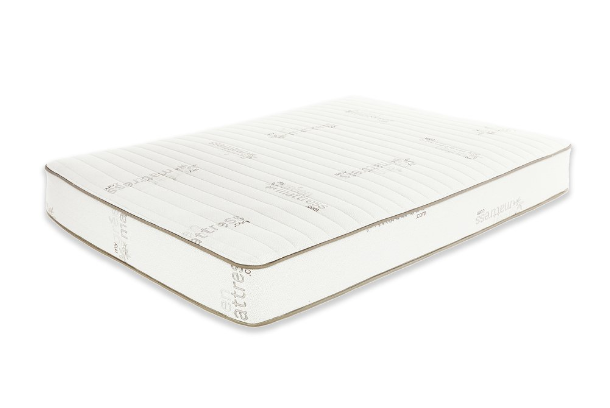eco-friendly innerspring mattress pure echo by my green mattress in a blank white background